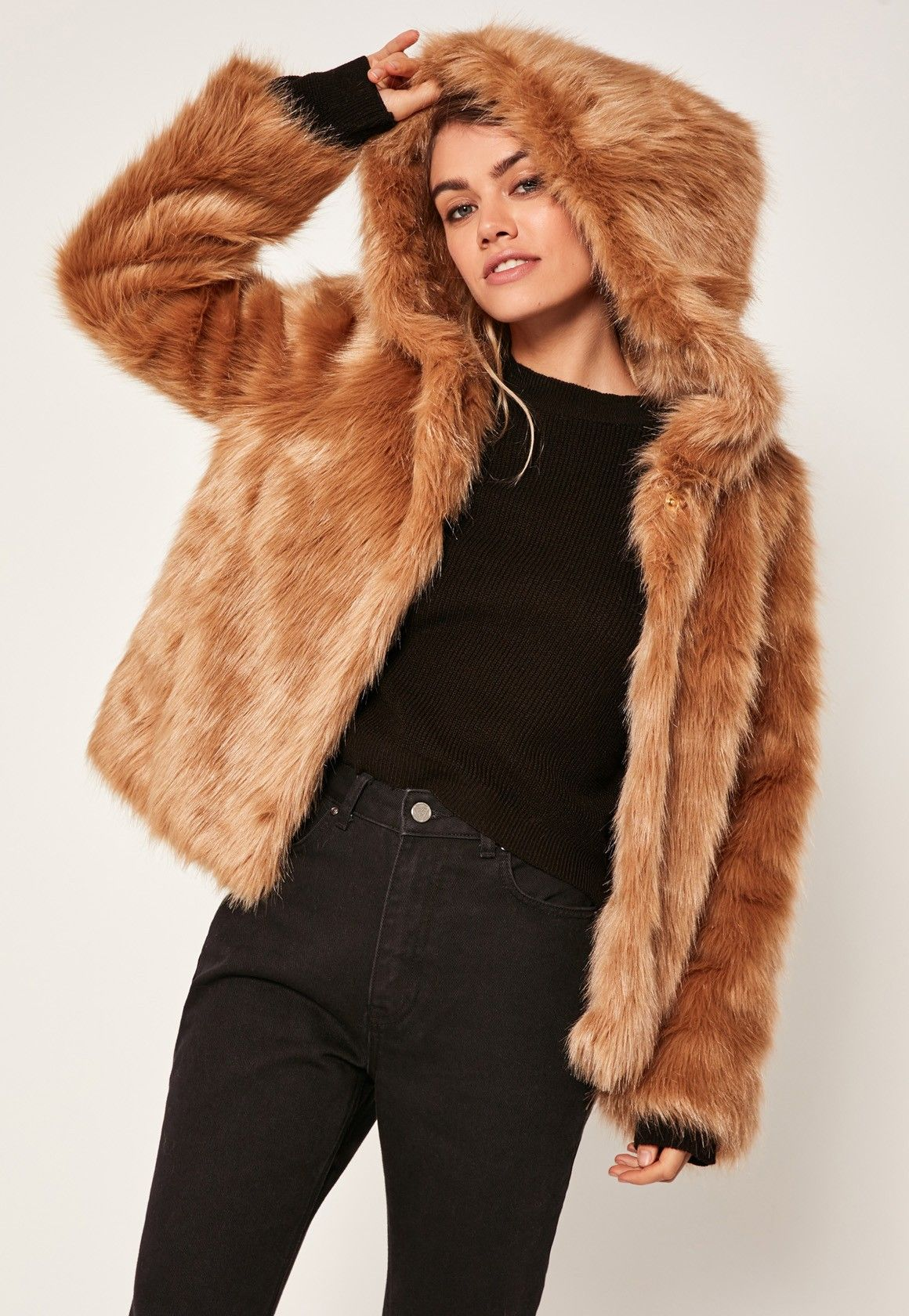 a64f7c5ca We love a faux fur coat here at Missguided and this caramel nude shade with  hood is top of our wish list.
