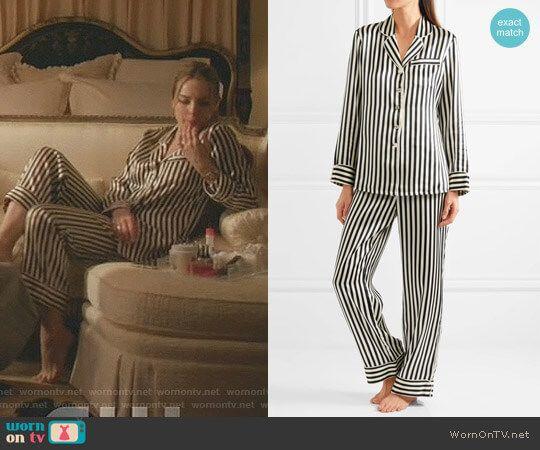 Fallon s black and white striped silk pajamas on Dynasty  3170aef85