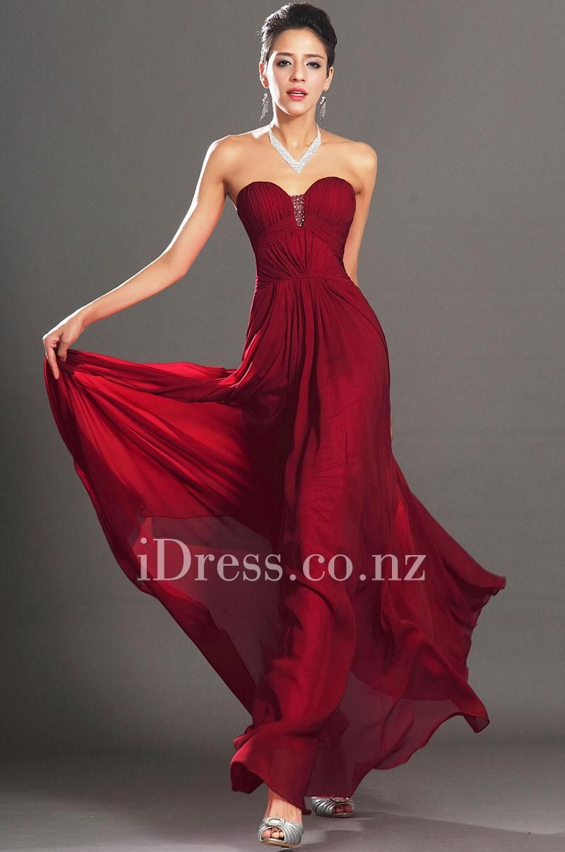 dark red strapless sweetheart long a line prom chiffon dress|ball ...