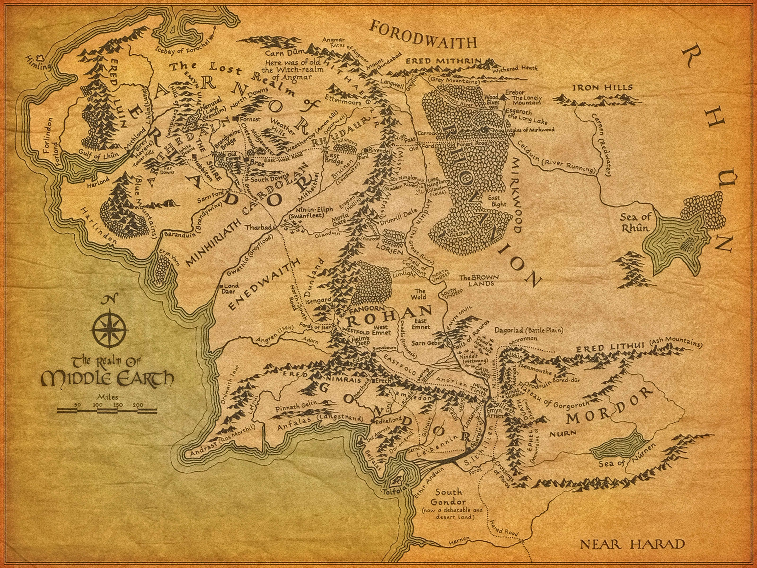 Map of Middle Earth from Lord of