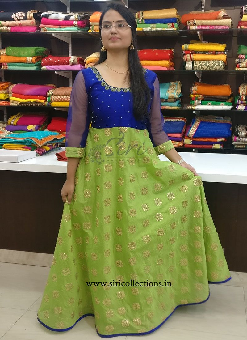 61dd978932053 Beautiful Long Frock in Green Chanderi and Blue Raw Silk with Hand  Embroidery Work. Size- Standard Can be customized to required size.