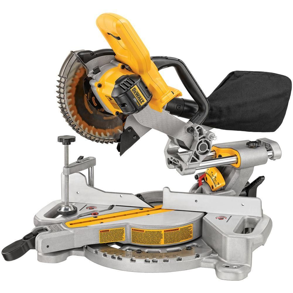 Dewalt 20 Volt Max Lithium Ion Cordless 7 1 4 In Miter Saw Tool Only Dcs361b The Home Depot Miter Saw Saw Tool Sliding Compound Miter Saw
