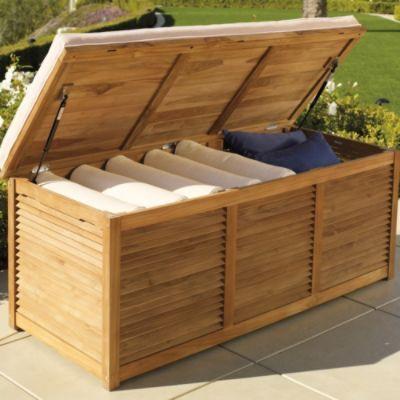 Louvered Teak Trunk Storage Chest Outdoor Outdoor Storage