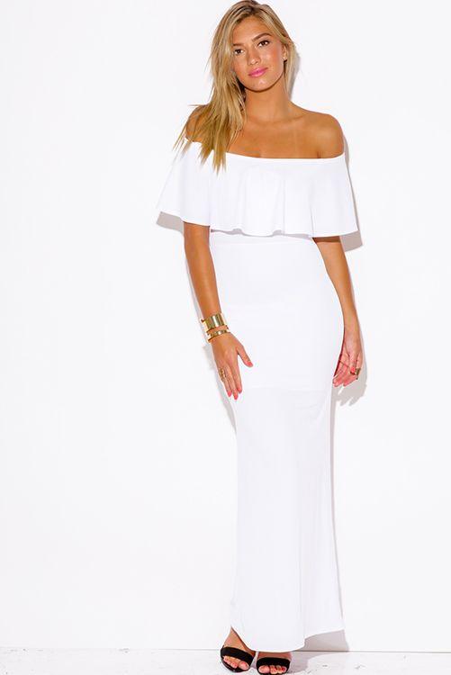 b9ca6fc2a776 Cute cheap white ruffle off shoulder formal evening party maxi dress ...