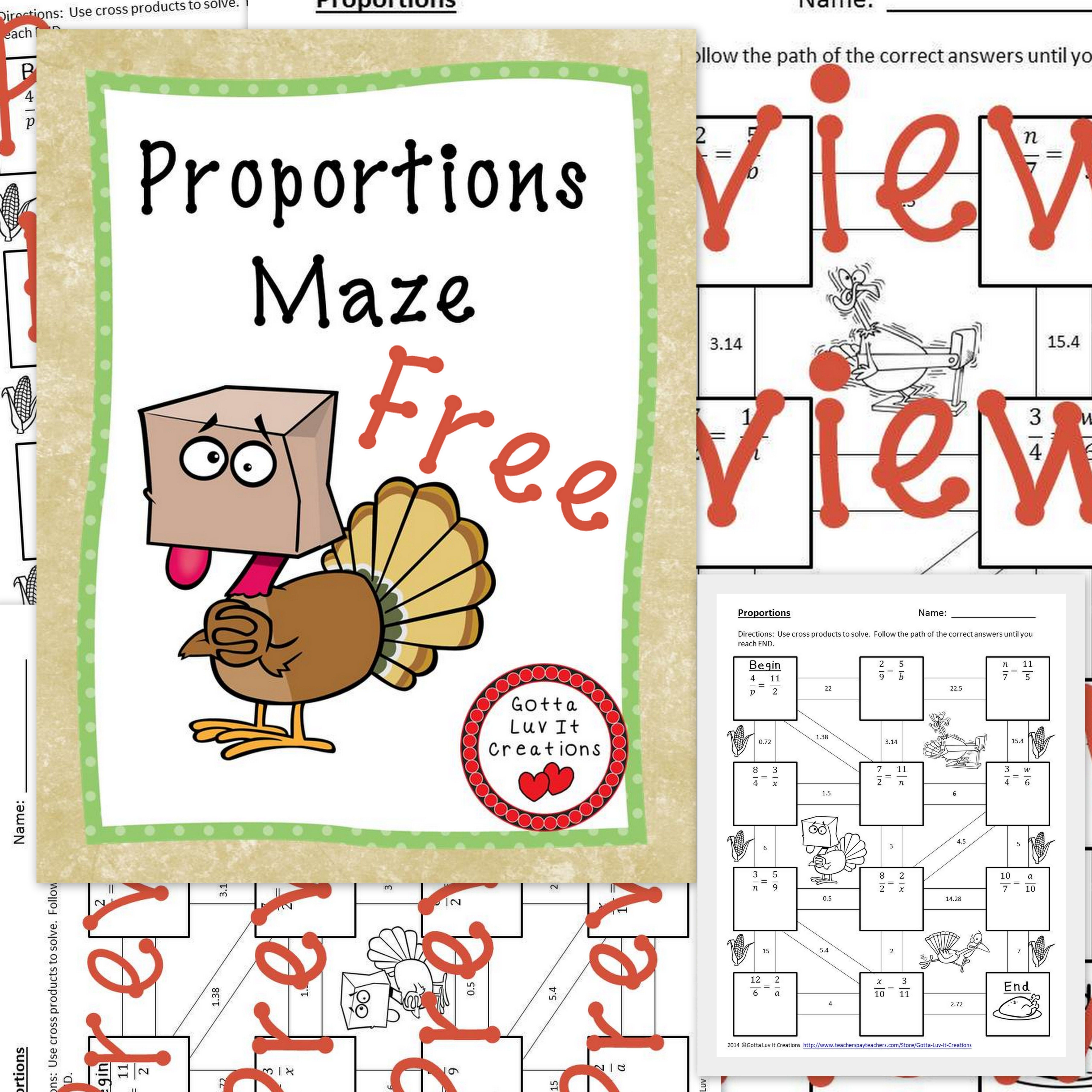 Free No Prep Just Print Use Cross Products To Solve Proportions Answer Key Included See Preview Fo Thanksgiving Math Thanksgiving Math Activities Math