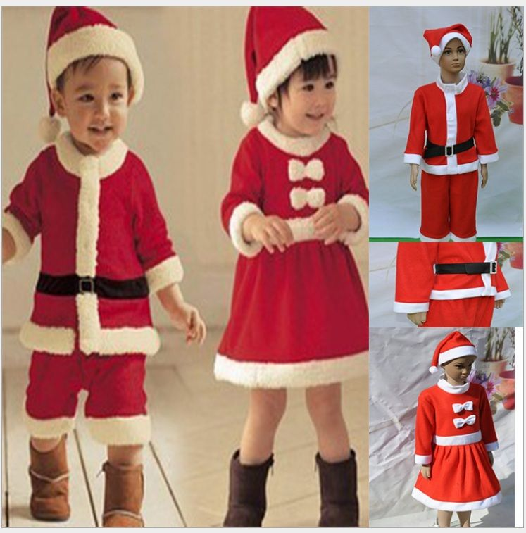 merry christmas cute infant children costume 2 7 years old boysgirls red christmas clothing set of 3 free shippinghigh quality clothing fastenerschina - Children Christmas Pictures 2