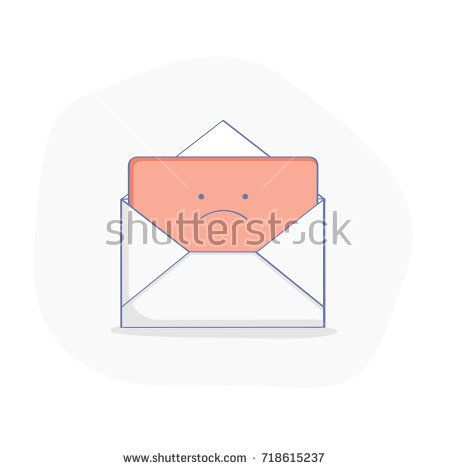 Bad News Message Red Upset Letter In Cute Open Mail Envelope