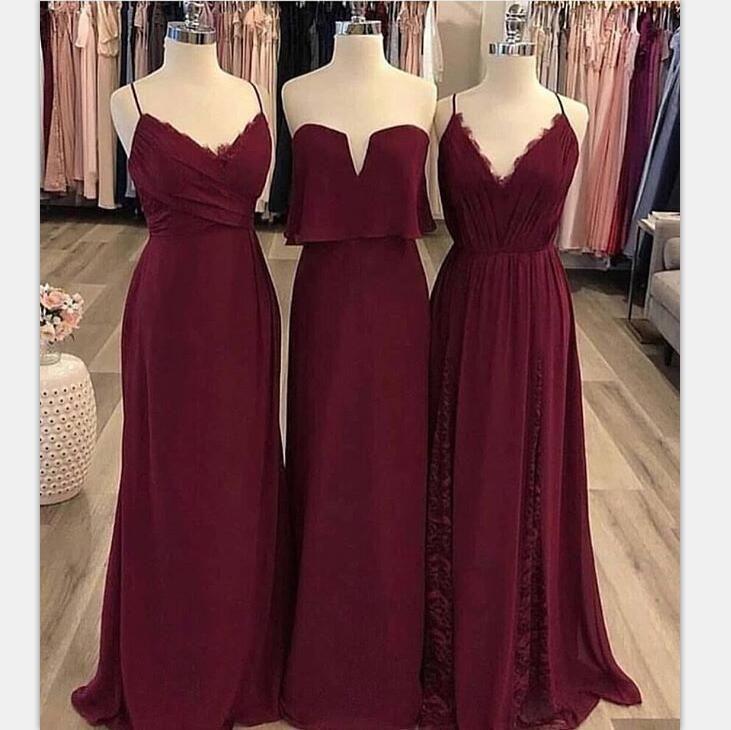 Mismatched Burgundy Modest Cheap Unique Bridesmaid Dresses