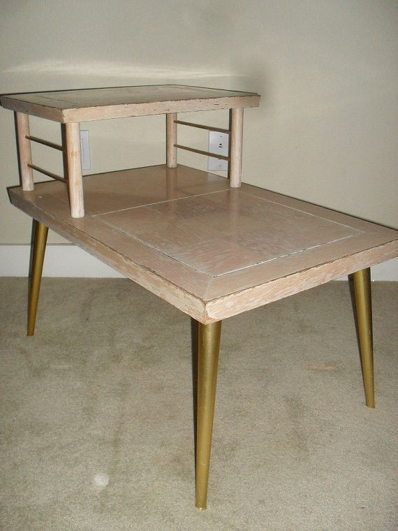 Entryway Table Side Table Upcycled Vintage Two-Tier Step Table Telephone