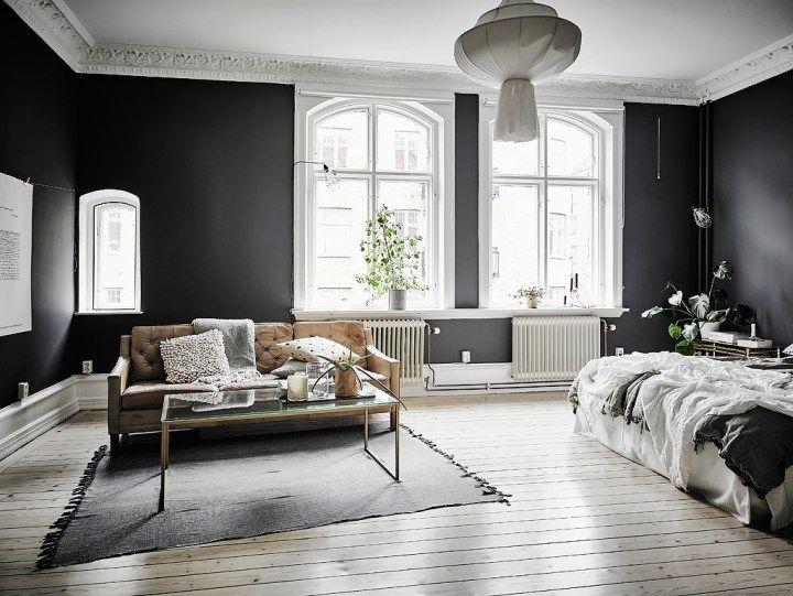 Elegantes paredes negras paredes negras salones negros for Pisos elegantes
