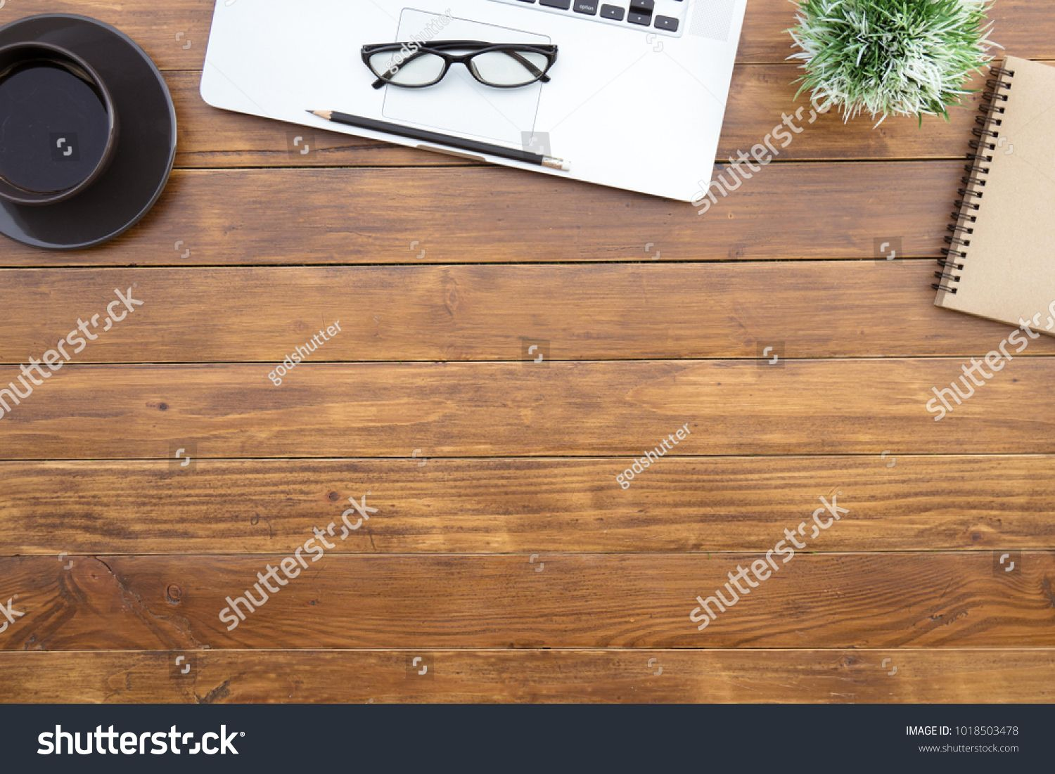Flat Lay Of Top View Desk Work Table With Computer Laptop And