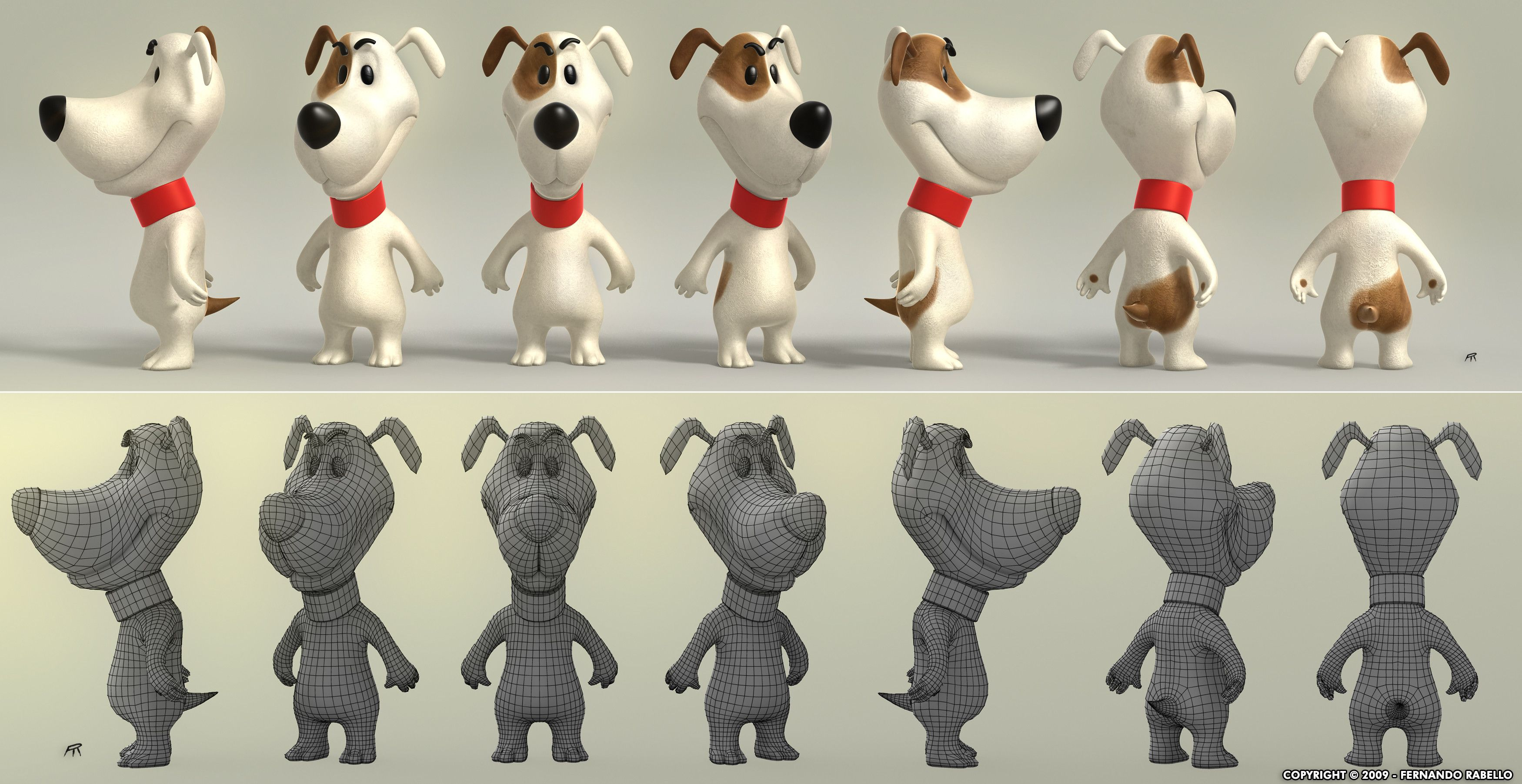 Cartoon Characters 3d Model : Dog cartoon d model topology pinterest