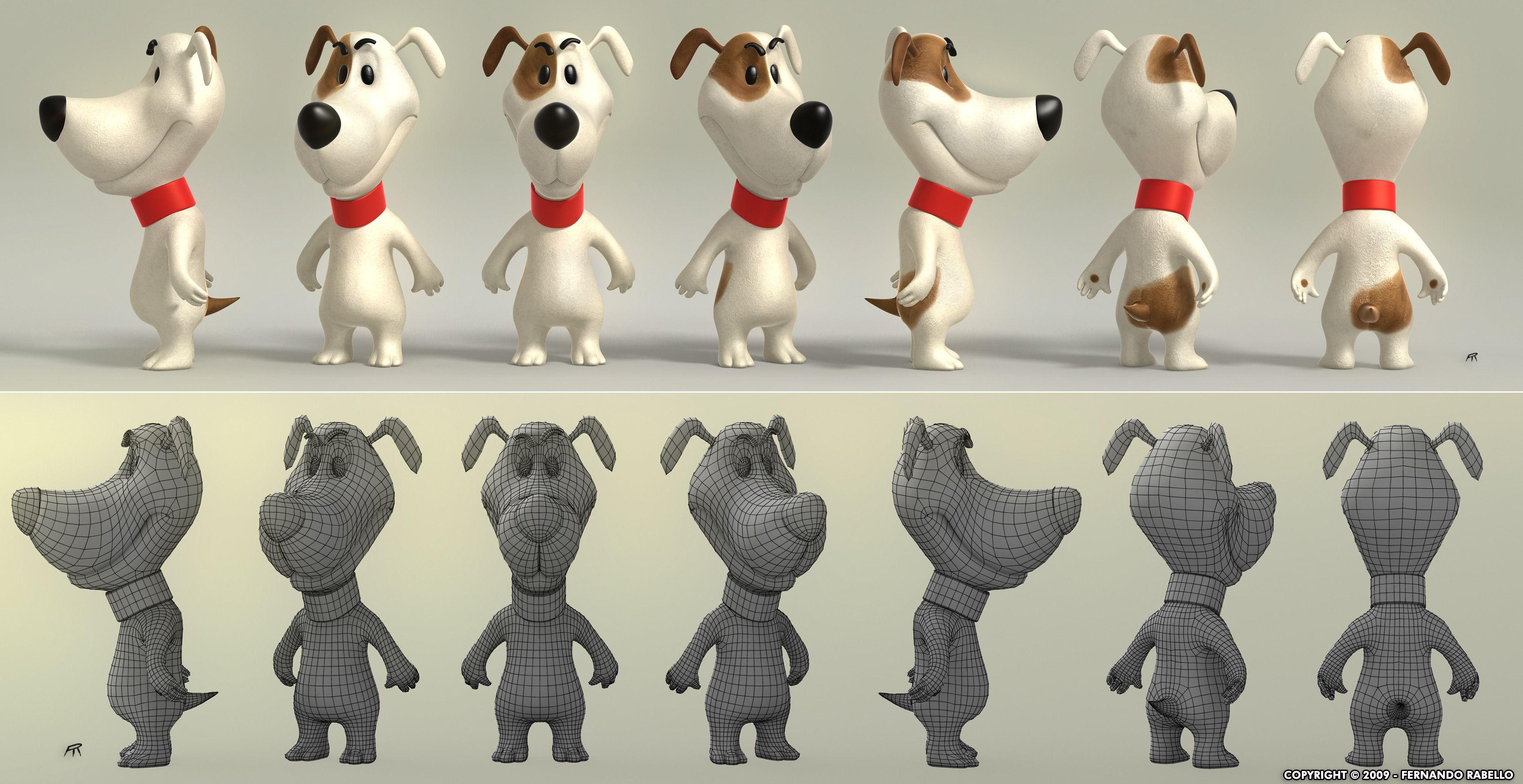 Cartoon Characters 3d Model : Dog cartoon d model topology pinterest