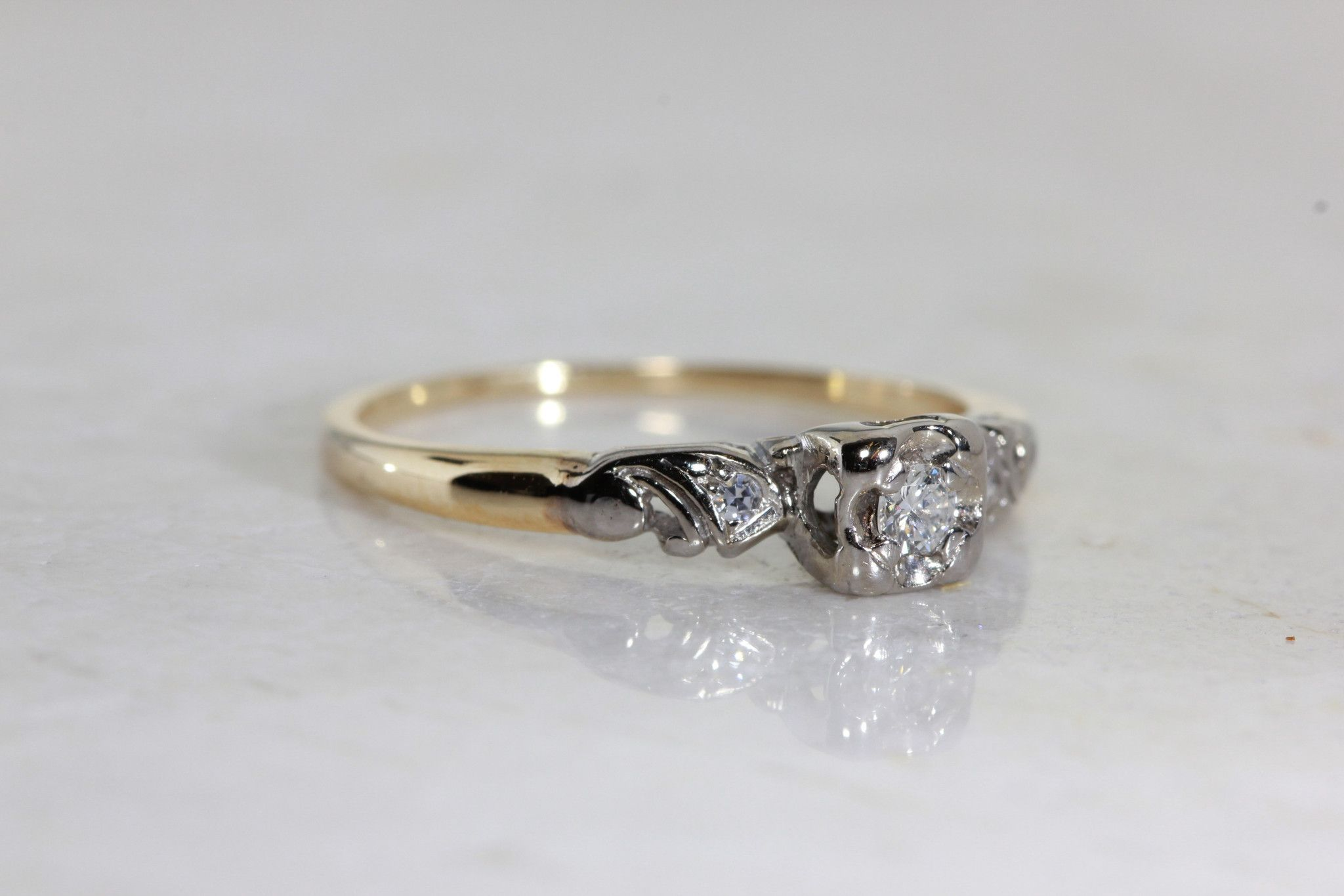 d6143909d5cd1 ANTIQUE 1940's VINTAGE ENGAGEMENT RING 14k WHITE & YELLOW GOLD ...