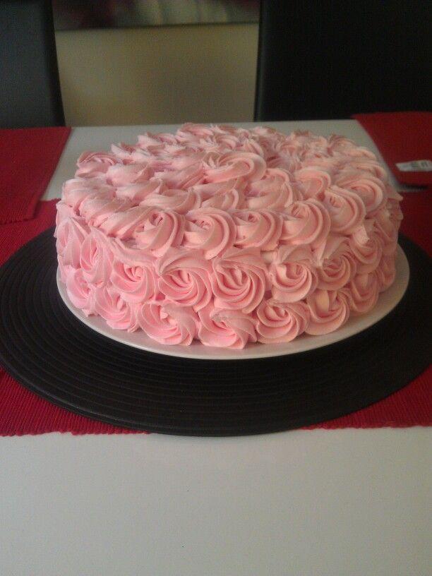 Raspberry vanilla rosette cake