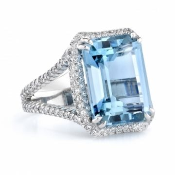 Omi Gems: Aquamarine and Diamond Ring #aquamarine #jewelry #gemstones