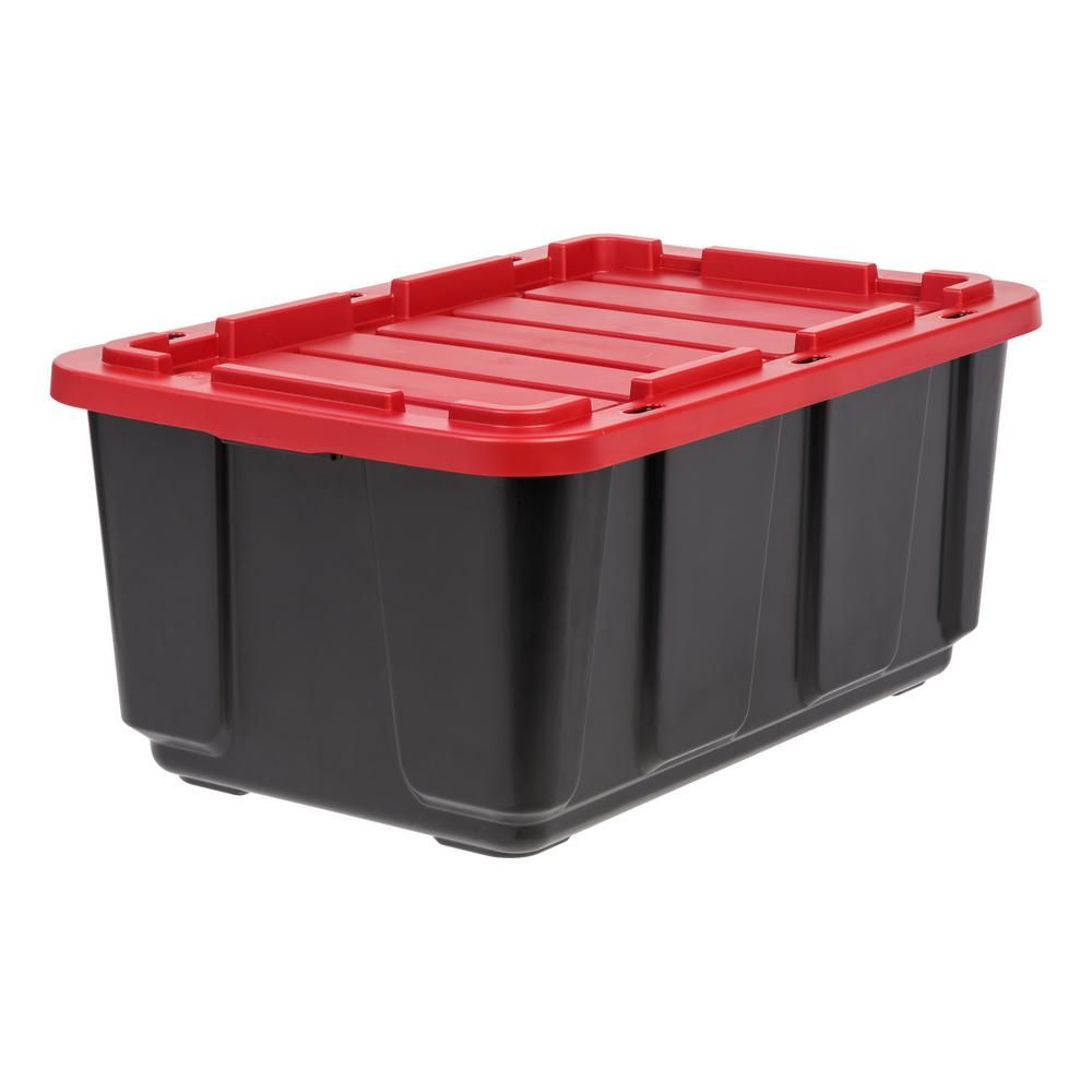 Iris 27 Gal Storage Tote In Black With Red Lid Black Red Plastic Storage Units Plastic Bins Plastic Box Storage