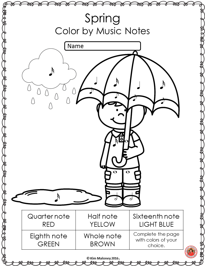 music symbol coloring pages | Spring Music Coloring Sheets: 26 Color by Music Notes and ...