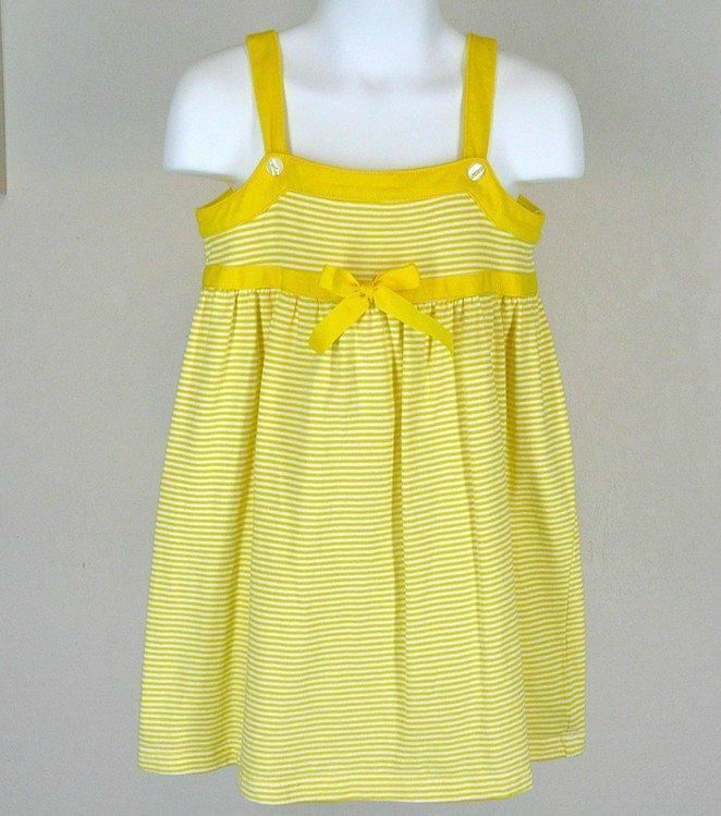Lucy Sykes Yellow Stripe Strappy Dress Sz 4 Cotton Knit Summer #LucySykes #Everyday