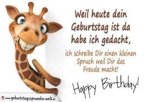 Geburtstagskarte Mit Giraffe Spruche Geburtstag Lustig Kurze