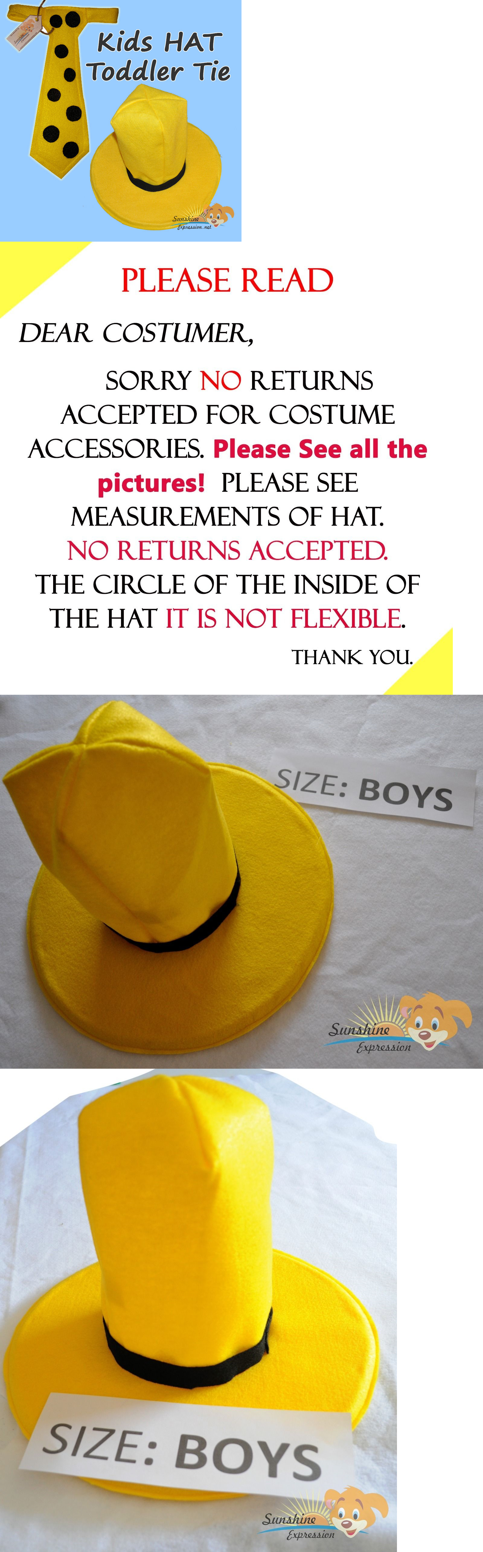 ac5b975b28d Hats 57884  Boys Hat And Toddler Tie Man In The Yellow Hat Curious George  Halloween Costume -  BUY IT NOW ONLY   35.99 on eBay!