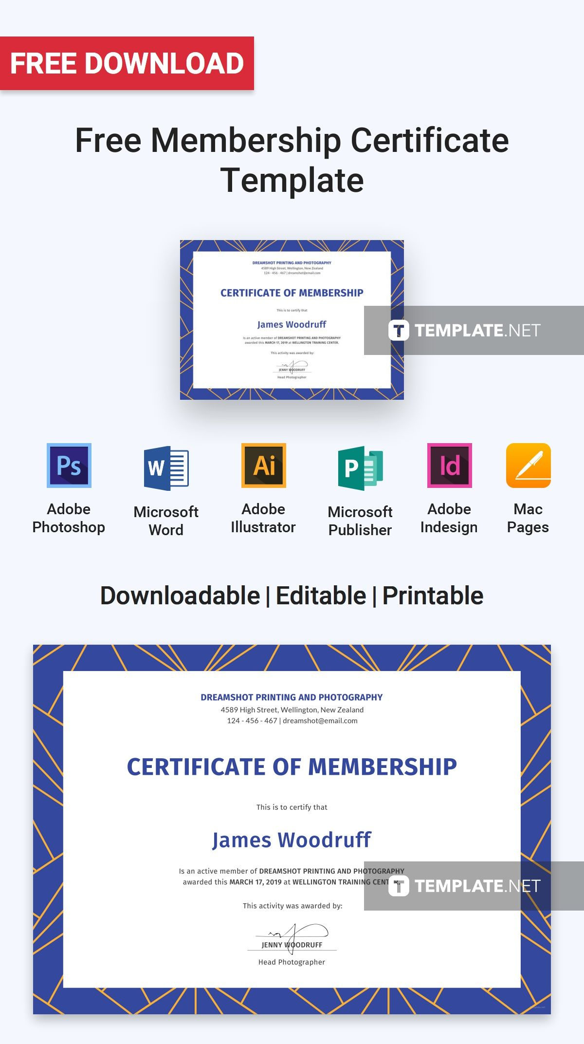 Free Membership Certificate Pinterest Certificate And Template