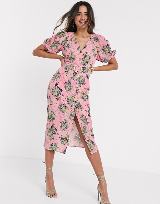 Asos Design Broderie Button Through Midi Tea Dress In Floral Print With Pearl Belt In 2020 Floral Print Dress Summer Tea Dress Check Pinafore Dress