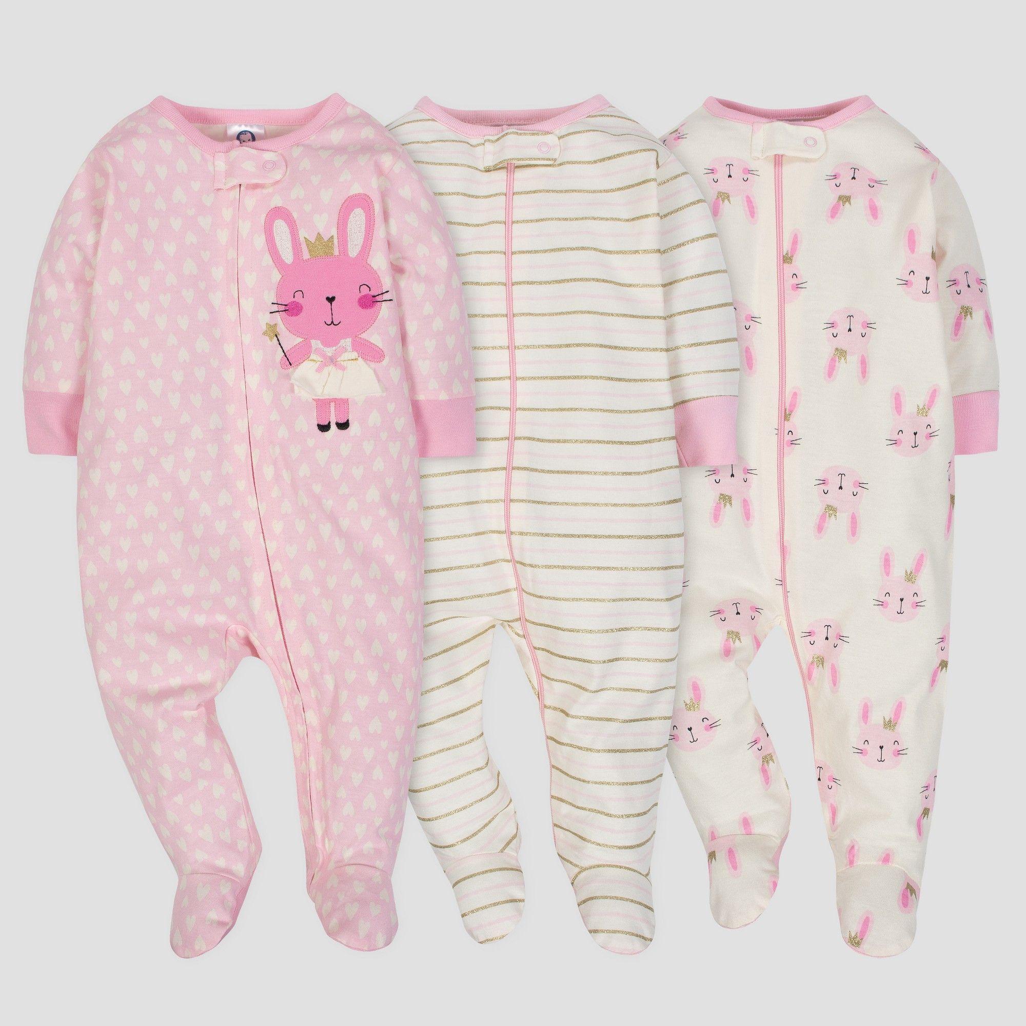06451e7f3bfc Gerber Baby Girls  3pk Sleep  N Play Princess - Pink Cream 3 6M ...