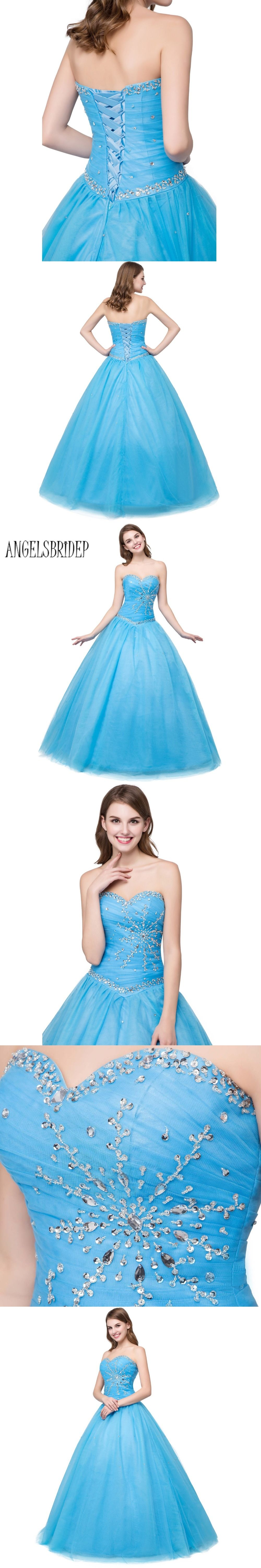 Angelsbridep sweetheart tulle blue prom dresses rhinestones beaded