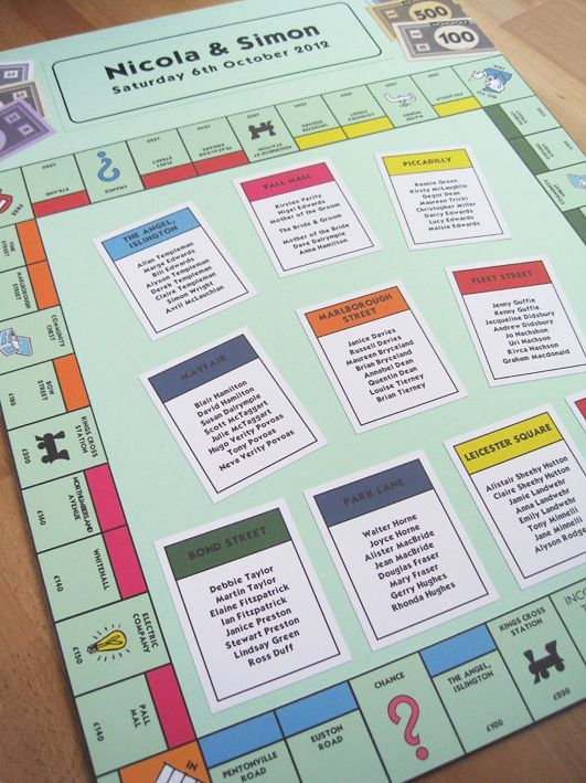Board Game Themed Wedding Seating Plans | Wedding | Seating plan