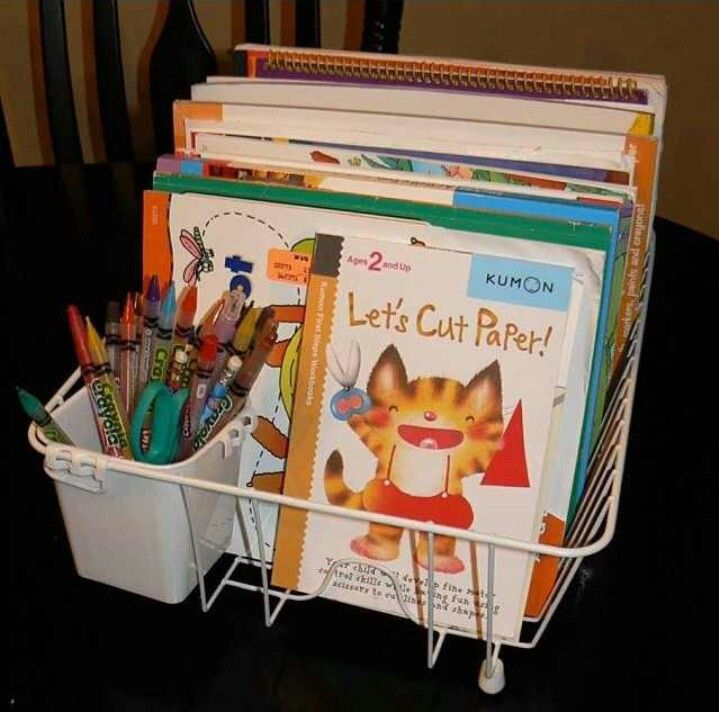 Use a dish washing rack as a crayon and coloring book holder | The ...