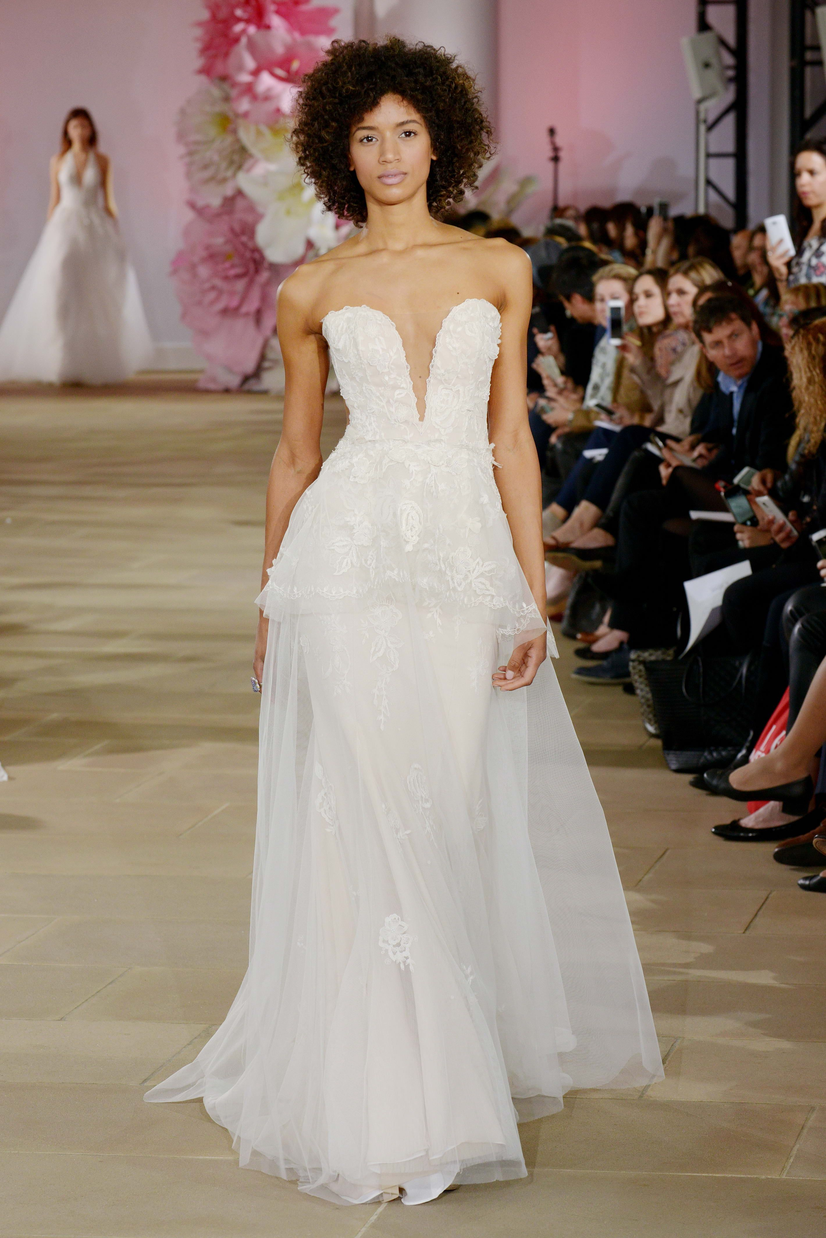 Ines Di Santo 'Sweet' gown Strapless sweetheart illusion plunging neckline sheath. Detachable overskirt with soft peplum.
