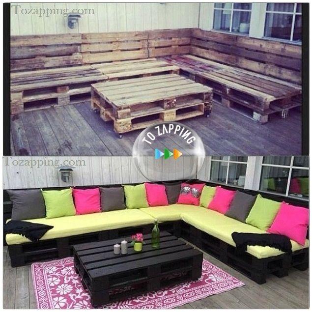 C mo hacer sof con palets sofas con - Como hacer un sofa paso a paso ...