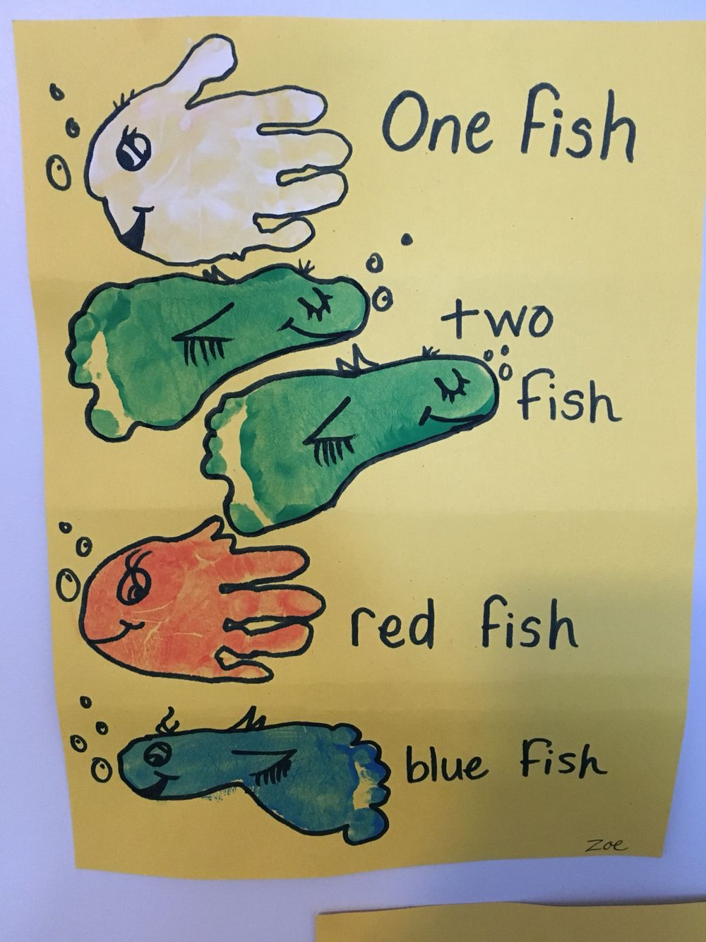 Dr. Seuss- one fish two fish red fish blue fish. Foot and hand ...