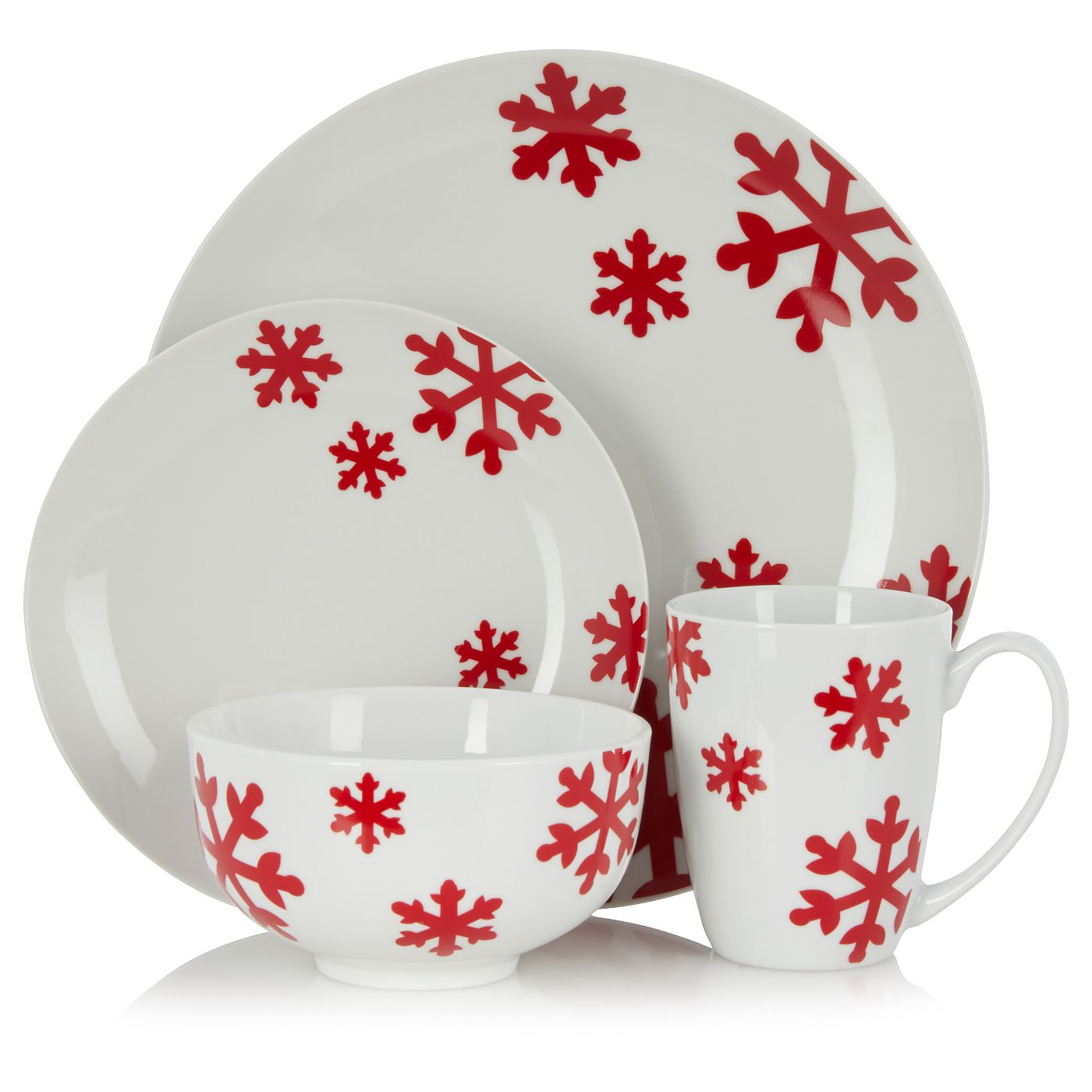 George Home 16 Piece Snowflake Dinner Set Tableware Asda Direct Christmas Dishes Dinner Sets George Home