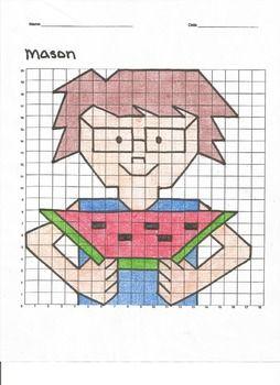 Quadrant 1 Coordinate Graph Mystery Picture Mason Watermelon Con