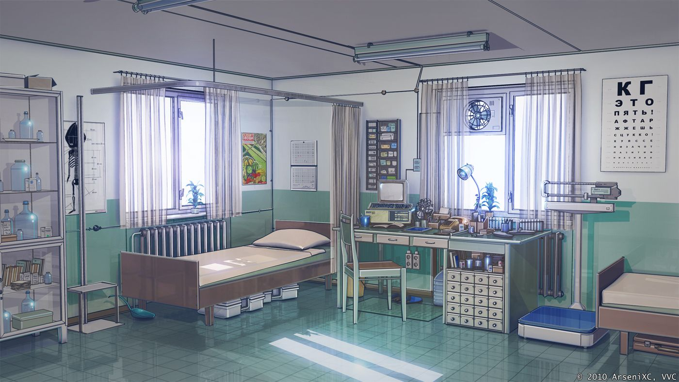Anime Hospital Background Medical point in summer campby