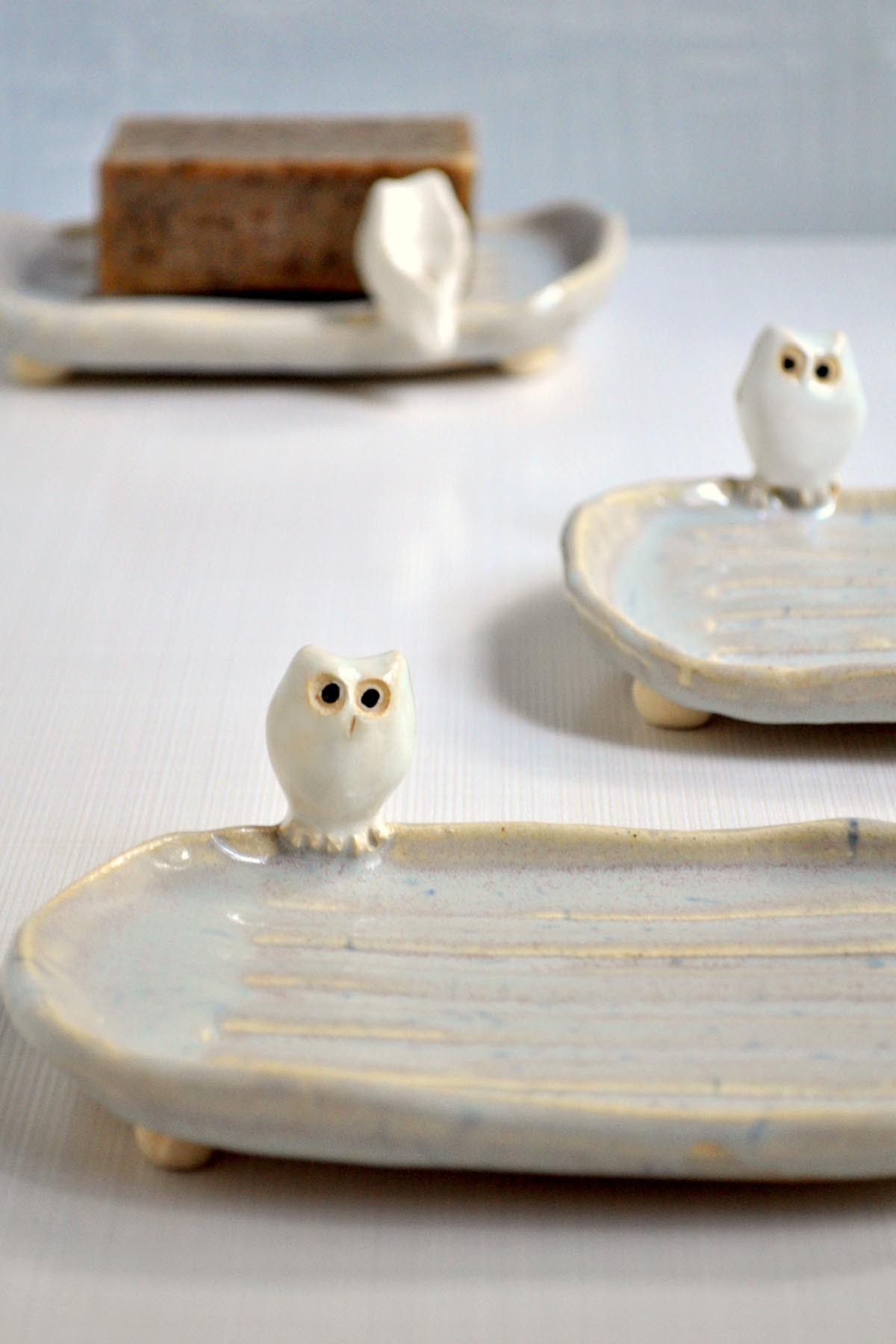 Ceramic Handmade Owl Soap Dish from Lee Wolfe Pottery