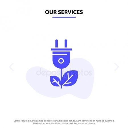 Our Services Biomass Energy Plug Power Solid Glyph Icon Web c  Stock