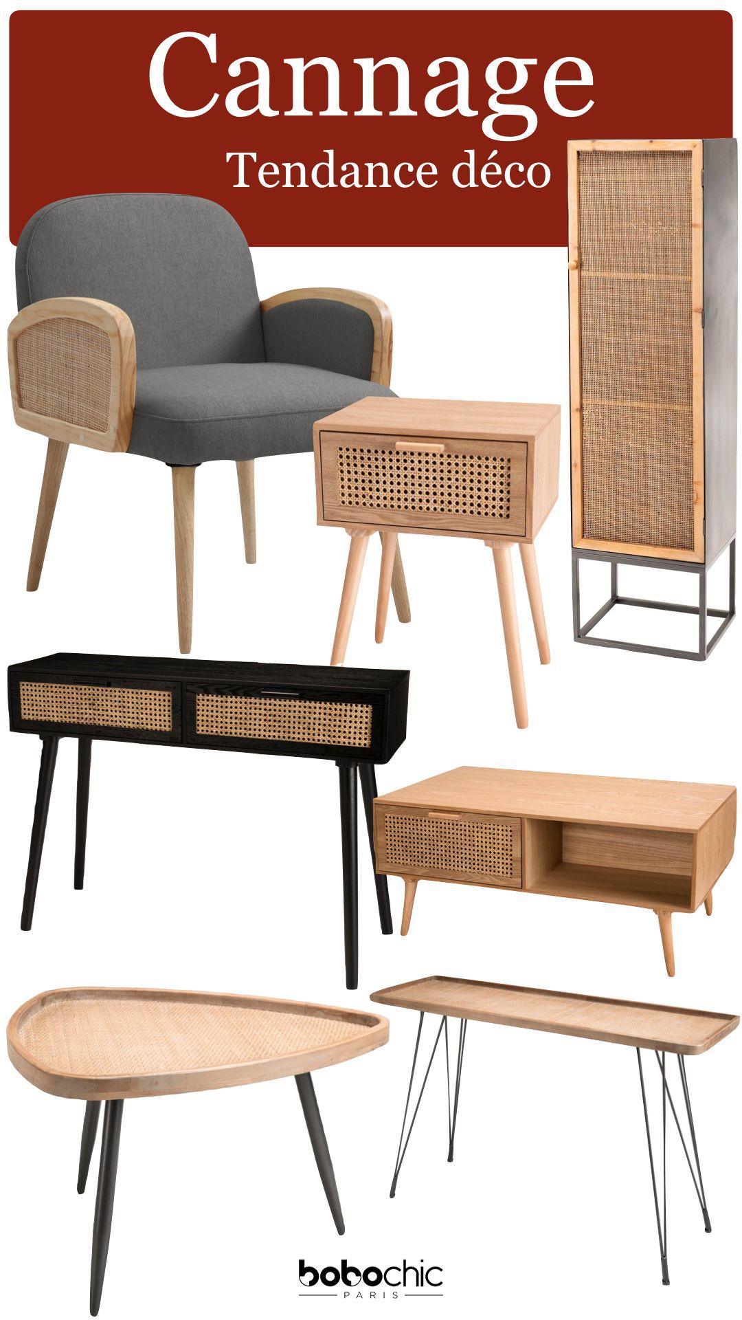 Tendance Deco Cannage Mobilier Moderne Meuble Salon Bobochic Table Basse Gueridon Meuble Tv Bois En 2020 Mobilier De Salon Decoration Interieure Chic Deco