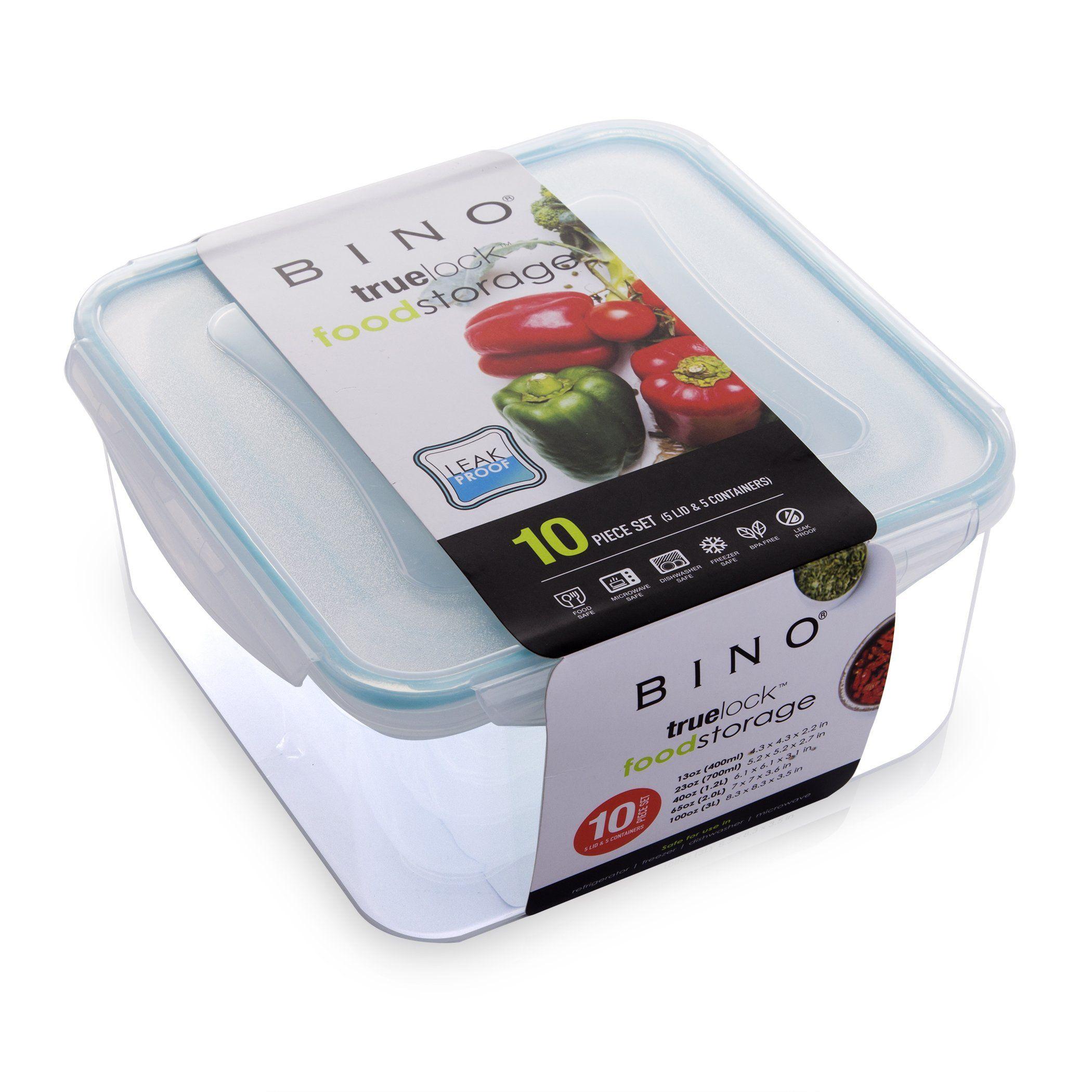 16ed4efa4e82 BINO TRUELOCK 10Piece Square LeakProof Plastic Snap Lock Food ...