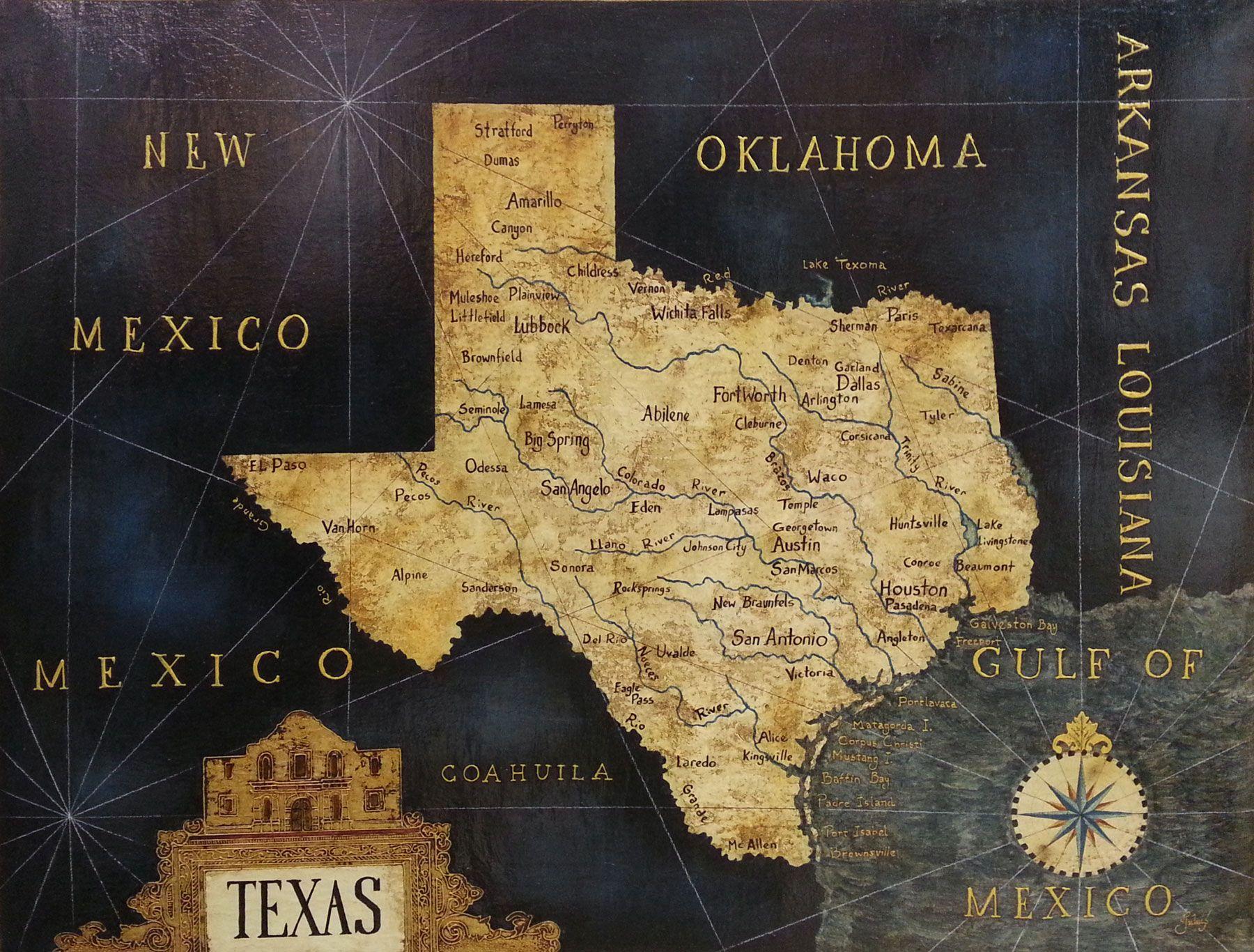 Antique Map Of Texas By Julius Lira Salazar Texas Map Antique