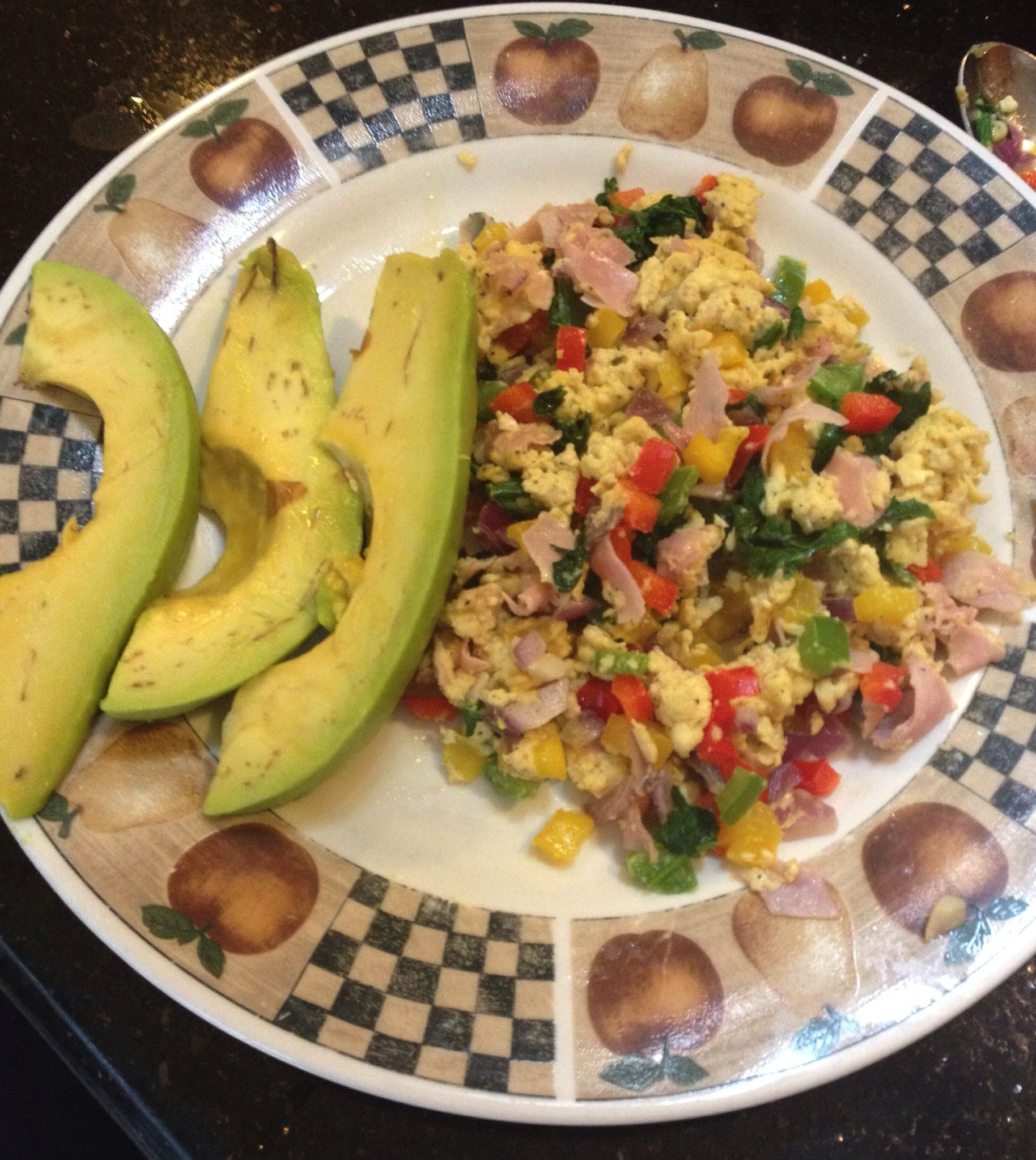 Ham And Avocado Scramble Recipe: Scrambled Eggs With Peppers, Onions, Ham, Chives, Oregano