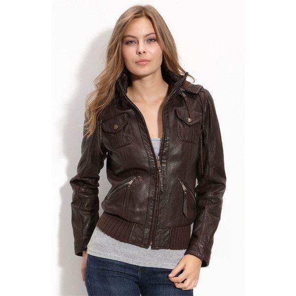 Michael Michael Kors Hooded Leather Bomber Jacket | Jacket Whore ...