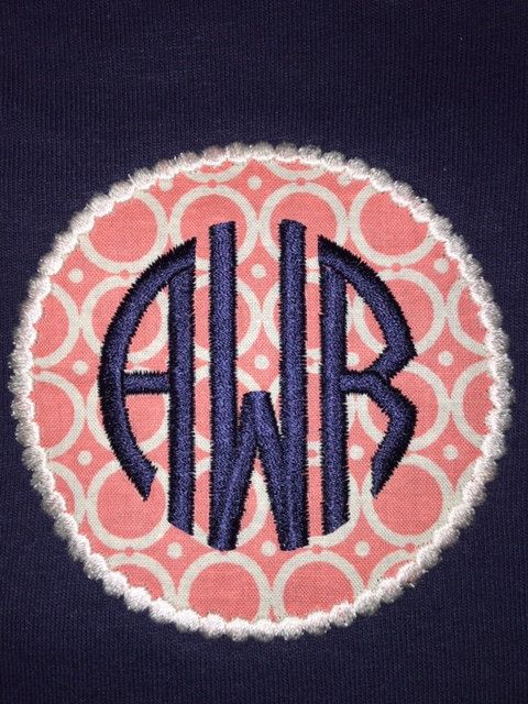 Adult Circle Applique Custom Embroidered 3 Letter Monogram