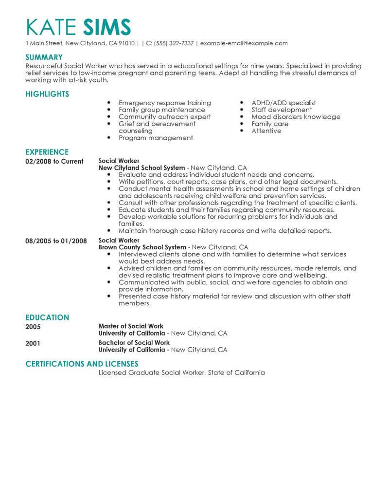 social work resume objective statements