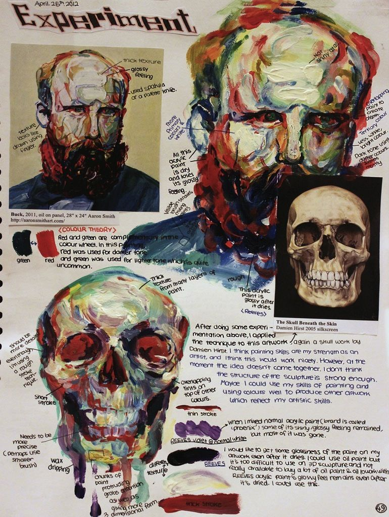 This student has completed a transcript before applying the painting style to their pastiche. The painting style they are adopting makes use of dramatic colours, thick paint and visible mark making.