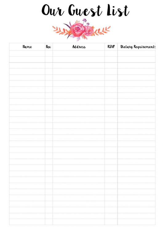 Punchy image inside printable wedding guest lists