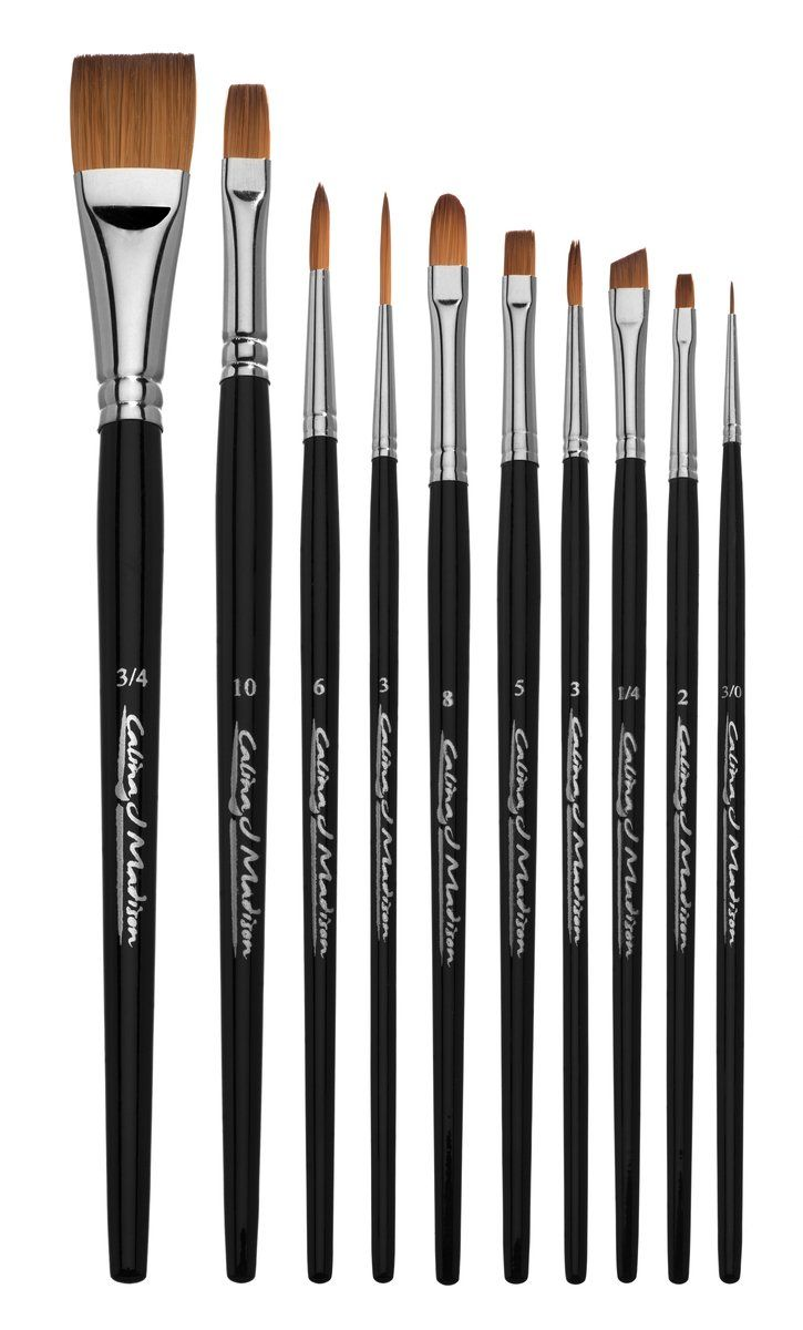 Filbert Aqualon RAQUA-201 Royal and Langnickel Wisp Short Handle Paint Brush Set 5-Piece