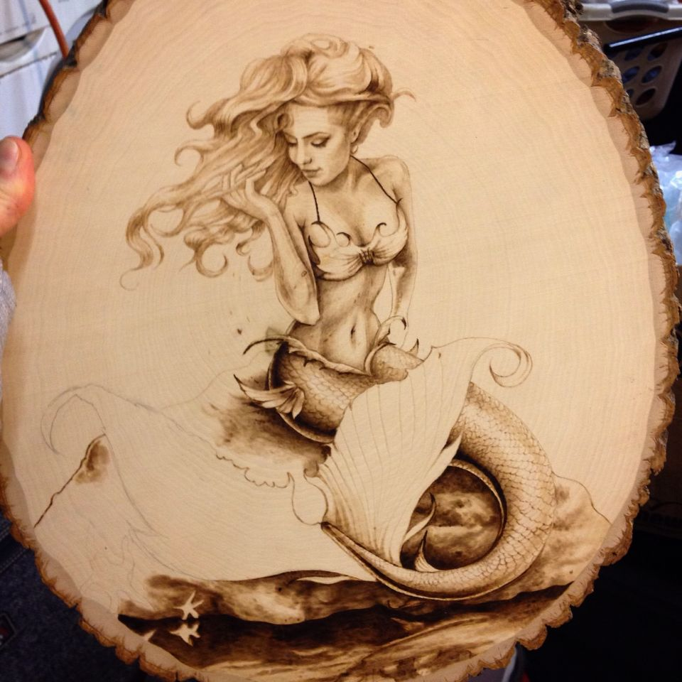WIP Commissioned Wood Burning Of A Mermaid Pyrography